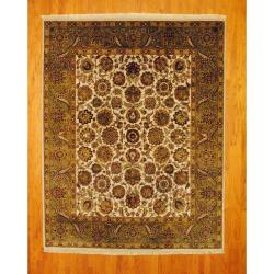 Indo Hand-knotted Mahal 8' x 10' Green/ Ivory Wool Rug (India)