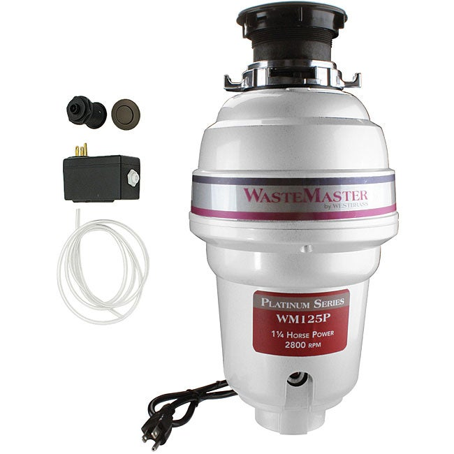 WasteMaster WM125P 1.25 HP Food Waste Garbage Disposal with Bronze Air Switch Kit