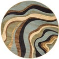 Waves Contemporary Area Rug (5' 3 Round)