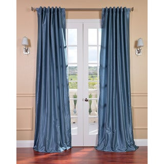 Provencial Blue Vintage Faux Dupioni Silk 84-inch Curtain Panel