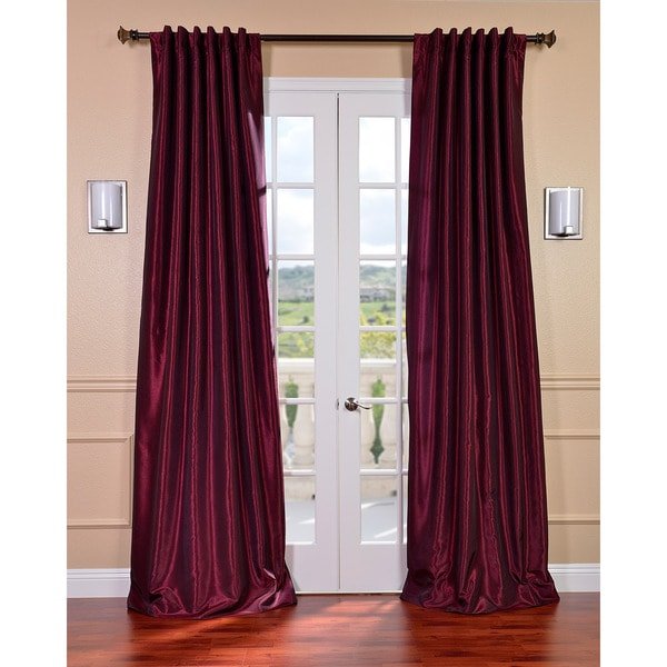 Exclusive Fabrics Mulberry Vintage Faux Dupioni Silk 84-inch Curtain Panel