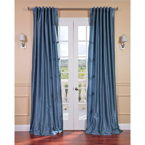 Provencial Blue Vintage Faux Dupioni Silk Curtain Panel