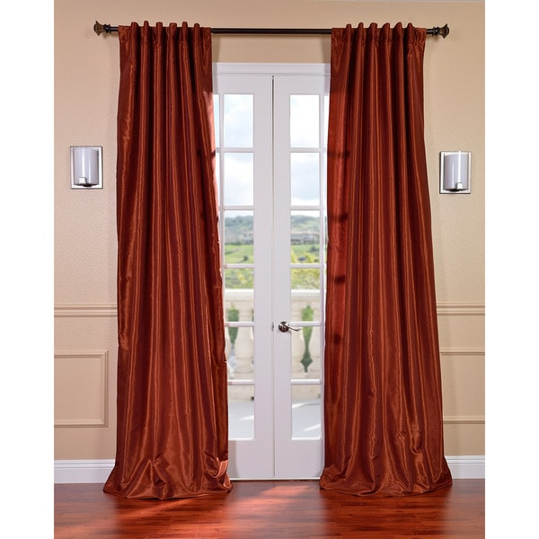 Burnt Orange Vintage Faux Dupioni Silk Curtain Panel ...