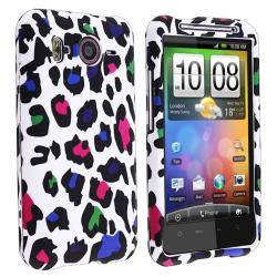 White/ Clear Leopard Rubber Coated Case for HTC Inspire 4G/ Desire HD