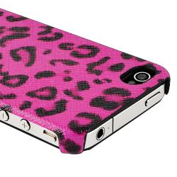Pink Leopard Version 2 Snap-on Leather Case for Apple iPhone 4/ 4S