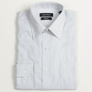 Nautica Men's Blue Striped Dress Shirt