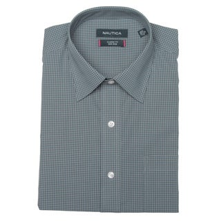 Nautica Men's Dark Slate Mini Check Dress Shirt FINAL SALE