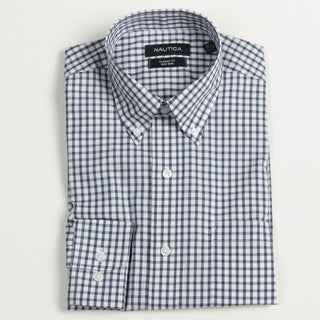 Nautica Men's Patriot Blue Checkered Dress Shirt