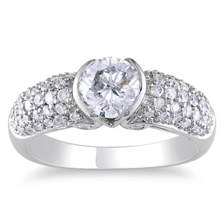 Miadora 14k White Gold 1 1/2ct TDW Certified Diamond Ring (H-I, I1)