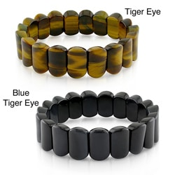 Miadora Brown or Black Tiger's Eye Bead 8-inch Stretch Bracelet