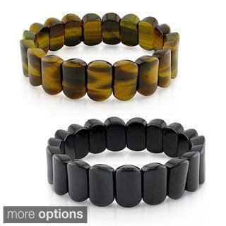 M by Miadora Brown or Black Tiger's Eye Bead 8-inch Stretch Bracelet