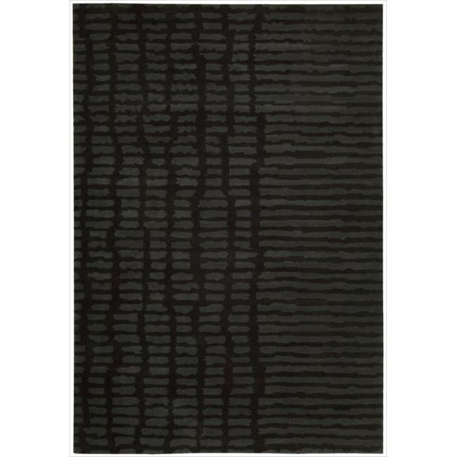 Nourison Home Hand-tufted Luster Wash Black Rug (5'6 x 8')