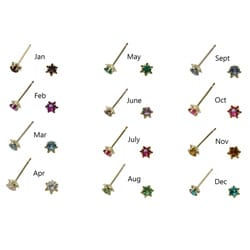 Gioelli 10k Yellow Gold Children's Simulated Gemstone Birthstone Stud Earrings