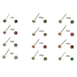 10k Yellow Gold Children's Simulated Gemstone Birthstone Stud Earrings