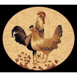 African Adventure Rooster Black Area Rug (5' x 7')