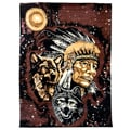 African Adventure Indian with Wolves Brown Area Rug (5' x 7')
