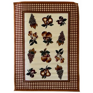 African Adventure Fruit & Checker Border Area Rug (5' x 7')
