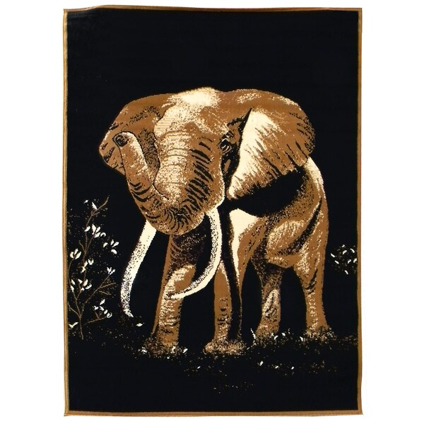 African Adventure Elephant Black Area Rug (5' x 7')