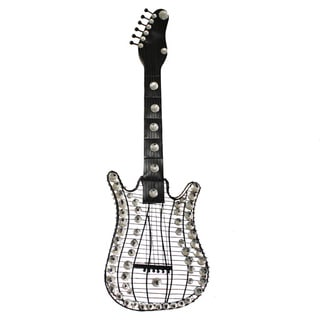 Hand-finished Viva La Music 3-D Metal Guitar Wall Art Decor