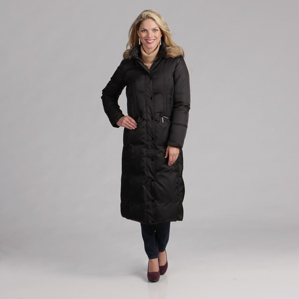 Hilary Radley Women's Black Zip-front Down Coat