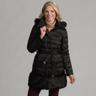 Hilary Radley Women's Belted Down Faux-fur Trim Coat
