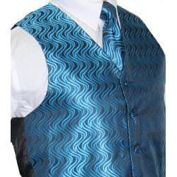 Ferrecci Men's Blue/black Vest Tie 4-piece Accessory Set