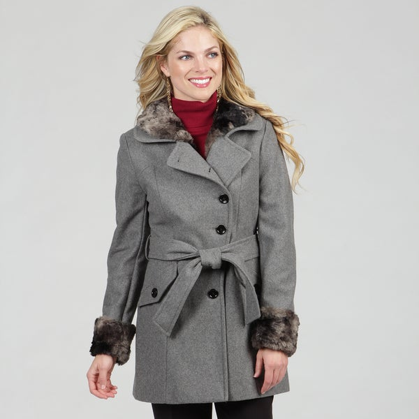 Esprit Women's Heather Grey Asymmetrical Belted Jacket