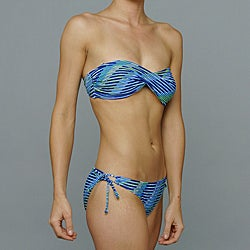 Island World Junior's Blue Striped Twisted Bandeau Top Bikini