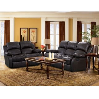 Rotunda Black Reclning Sofa and Loveseat Set with Four Recliners