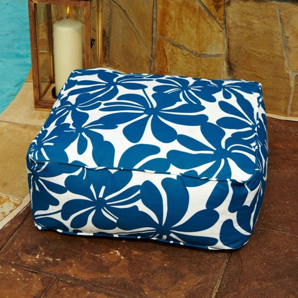 Penelope Blue Floral 24 in Square Indoor/ Outdoor Floor Pouf