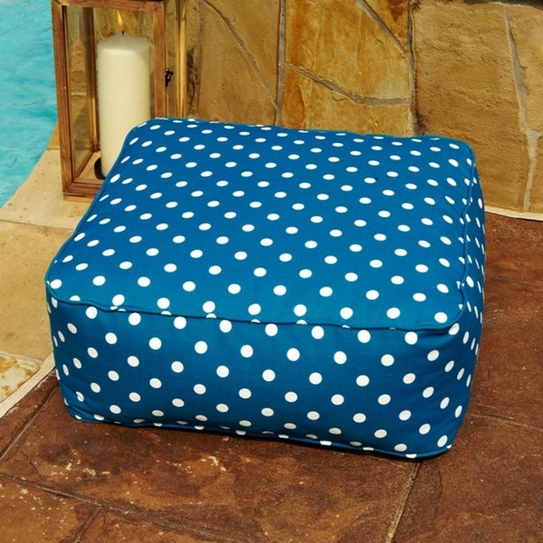 Penelope Blue Polka Dots 24 in Square Indoor/ Outdoor Floor Pouf