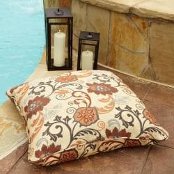Clara Beige/ Rust 28-inch Square Outdoor Sunbrella Floor Pillow