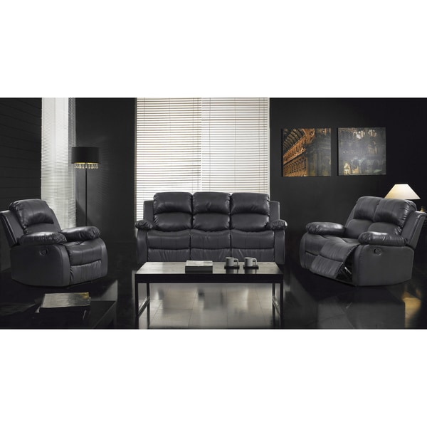 3-Piece Rotunda Black Sofa and Recliner Set