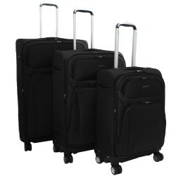 Jourdan Lightweight Black 3-piece Expandable Spinner Luggage Set
