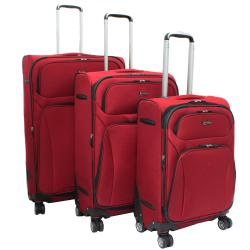 Jourdan Lightweight Red 3-piece Expandable Spinner Luggage Set
