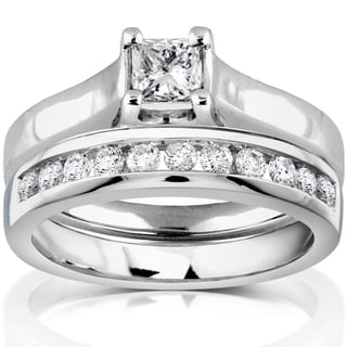 Annello 14k White Gold 5/8ct TDW Diamond Bridal Ring Set (H-I, SI1-SI2)