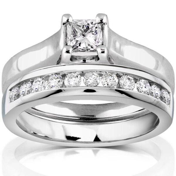 Annello 14k White Gold 5/8ct TDW Diamond Bridal Ring Set (H-I, SI1-SI2)