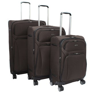 Jourdan Lightweight Brown 3-piece Expandable Spinner Luggage Set