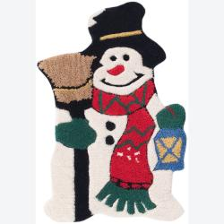 Hand-tufted Mandara Holiday Snowman Rugs (1'2 x 1'10) (Set)