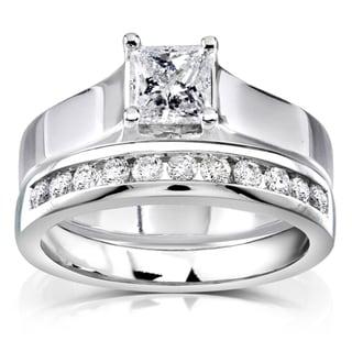 Annello 14k White Gold 4/5ct TDW Diamond Bridal Ring Set (G-H, I1-I2)