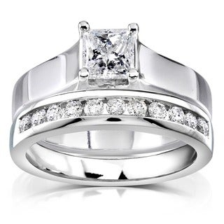 Annello 14k White Gold 4/5ct TDW Diamond Bridal Ring Set (G-H, I1-I2)