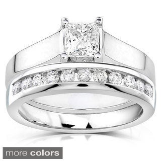 Annello 14k White Gold 7/8ct TDW Diamond Bridal Ring Set (G-H, I1-I2)