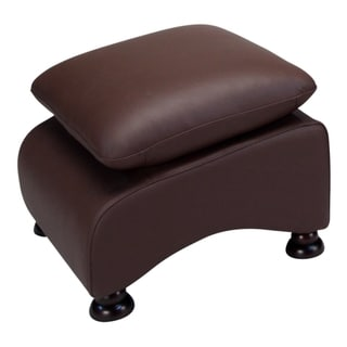 Lorenzo Coffee Brown Leather Ottoman