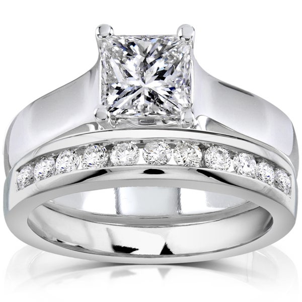 Annello 14k White Gold 1 1/3ct TDW Diamond Bridal Ring Set (H-I, SI1-SI2)
