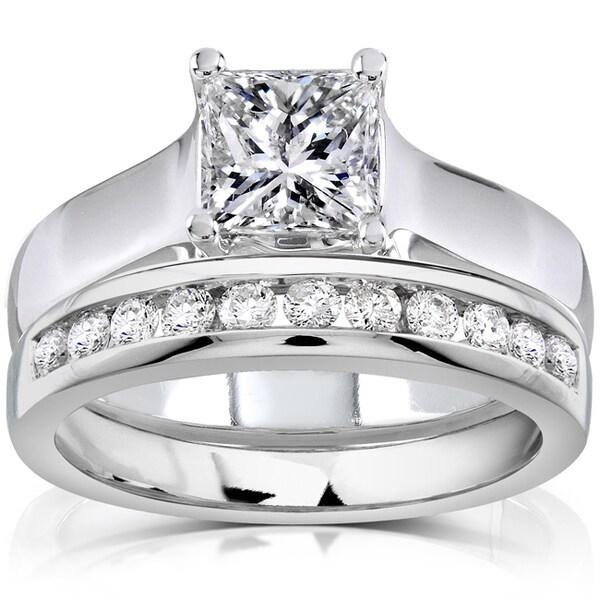 Annello 14k White Gold 1 1/3ct TDW Diamond Bridal Ring Set (H-I, SI1-SI2)
