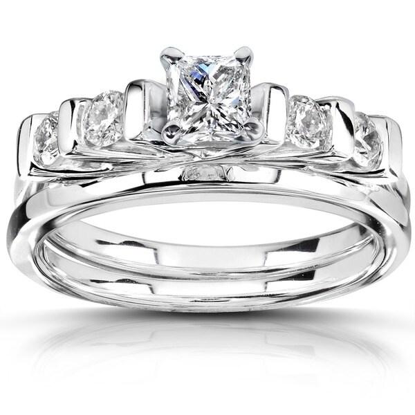 Annello 14k White Gold 5/8 ct TDW Diamond Bridal Ring Set (H-I, I1-I2)