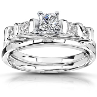 Annello 14k White Gold 5/8 ct TDW Diamond Bridal Ring Set (H-I, I1-I2)