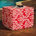 Brooklyn Red 22-inch Square Indoor/ Outdoor Ottoman