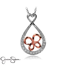 Sterling Silver Diamond Accent Infinity Butterfly Necklace