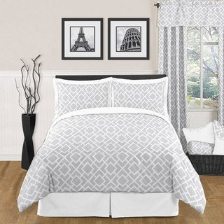 Sweet JoJo Designs Grey and White Diamond 3-piece Full / Queen-size Bedding Set